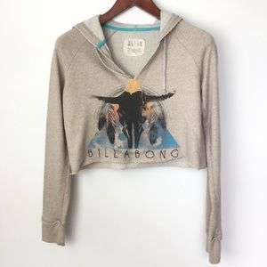 Billabong Cropped Cream Hoodie with Graphics sz M